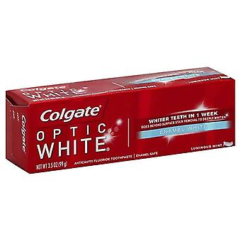 Óptica blanca anticaries crema dental de Colgate, menta luminoso, 3.5 oz
