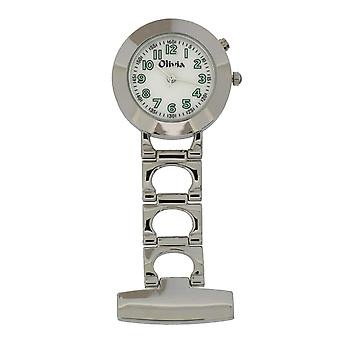 The Olivia Collection  Backlight White Dial Nurse Fob Watch TOC02