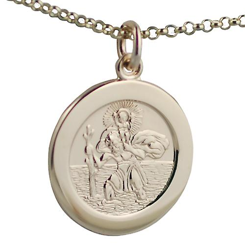 9ct Gold 21mm St Christopher with car boat train plane on back with Belcher chain