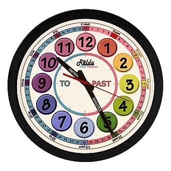 Relda Clear To Read Time Teacher Children's Bedroom/ Classroom Wall Clock, Rainbow Colours, REL127