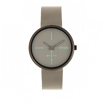 Simplify The 4400 Leather-Band Watch - Gunmetal/Grey