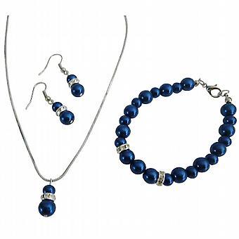 Beste rimelig smykker med sølv Rondells diamant mørk blå smykker