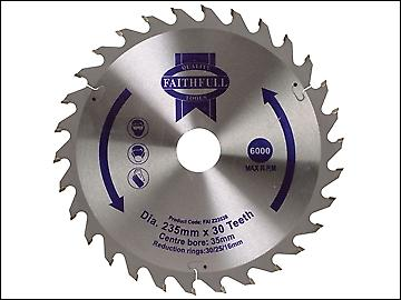 Faithfull Circular Saw Blade TCT 235 x 16/20/30/35mm x 30T General Purpose