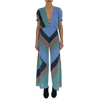 Circus Hotel Light Blue Viscose Jumpsuit