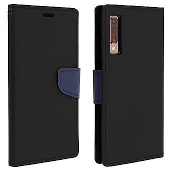 Etui Galaxy porte-A7 2018 Folio Case cartes soutien fonction Mercury - noir