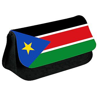 South Sudan Flag Printed Design Pencil Case for Stationary/Cosmetic - 0164 (Black) by i-Tronixs