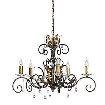 Traditional Bronze 5 Arm Chandelier with Clear Glass
