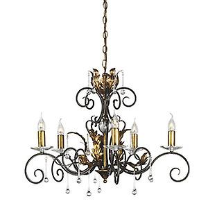 Elstead AML5 BRONZE Amarilli Traditional Bronze 5 Arm Chandelier with Clear Glass