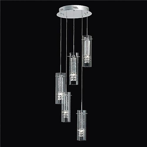Endon SOPRANO-5CH Soprano Contemporary 5 Light Spiral Chrome And Crystal Pendant