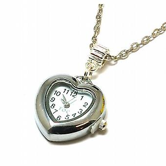 Toc Beadz Silvertone Metal Heart Shaped Watch Pendant on 23.5 Inch Chain