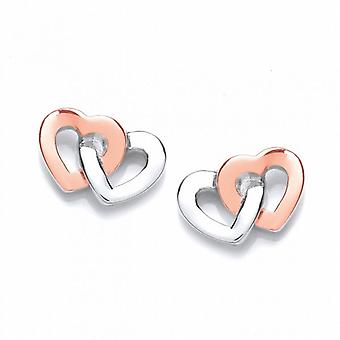 Cavendish French Silver and Rose Gold Linked Heart Earrings