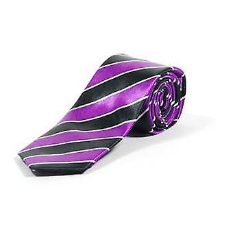 Paars gestreepte magere stropdas