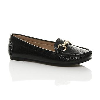 Ajvani Womens flat low heel buckle smart casual work moccasins loafers shoes