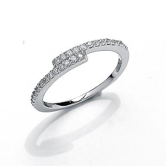 Jewelco Londen meisjes rhodium plated sterling zilver ronde briljante Cubic Zirconia uit set crossover Eternity Ring