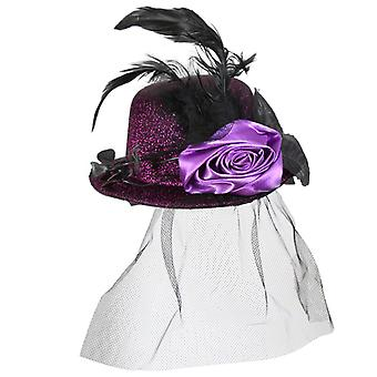 ミニ帽子ルイーズ紫ハロウィーン ベール