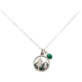 Gemshine Alpine tree FIR ketting 925 zilver, verguld, Rose-smaragd groen
