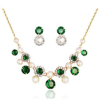 14K Gold Plated Swarovski Elements Crystal And Simulated Pearl Set