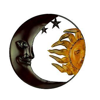 Metalen kunst hemelse zon en maan indoor buiten muur decor