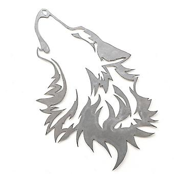 Howling wolf - metal cut sign 18x13in