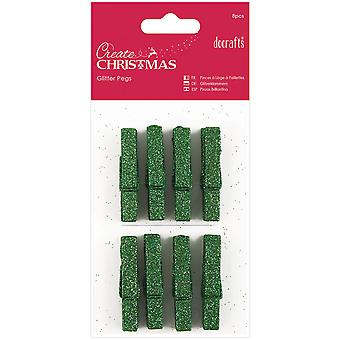Papermania Create Christmas Glitter Pegs 8/Pkg-Green PM174927