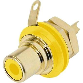 RCA connector Socket, vertical vertical Number of pins: 2 Yellow Rean AV NYS 367-4 1 pc(s)