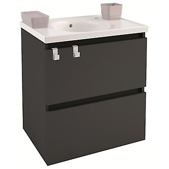 Bath+ Cabinet 2 drawers Anthracite Porcelain Basin 60CM
