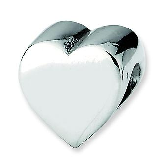 Sterling Silver Polished Antique finish Reflections Heart Shape Bead Charm