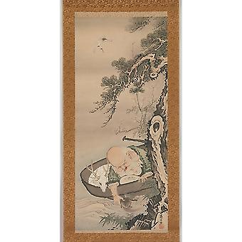 "The God of Good Fortune Jurojin Poster Print by Soga Shohaku (Japanese 1730  ""1781) (18 x 24)"