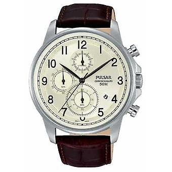 Pulsar Gents Brown Leather Cream Dial Chrono PM3071X1 Watch