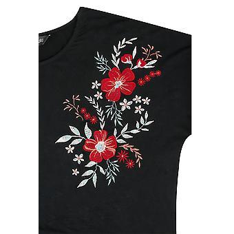Svart t-skjorte med Floral brodert skuldre