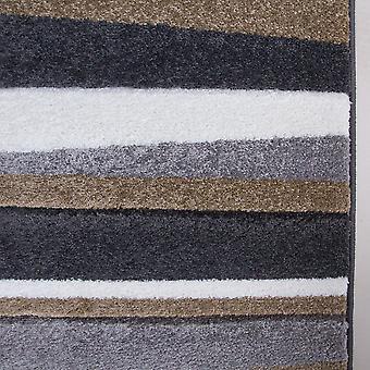 Modern Beige & Grey Striped Living Room Rug - Rio