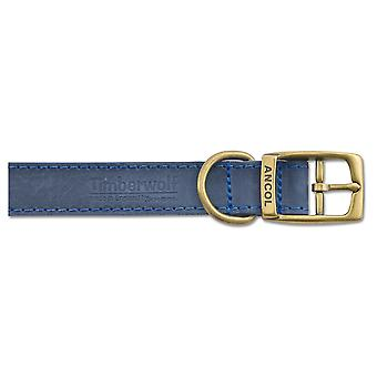 Timberwolf Leather Collar Blue 19mm X35-43cm