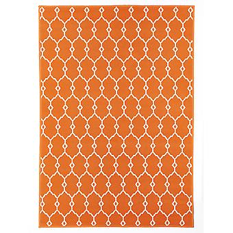 Orange marokkanske fliser espalier Flatweave tæppe - Floorit