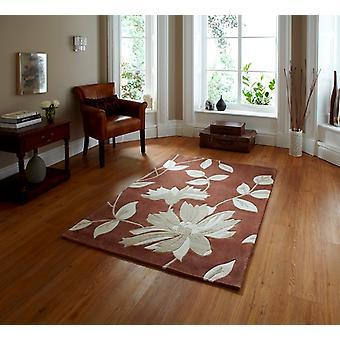 Elegant Modern kvalitet brun blommönster Lounge matta 2085 - Phoenix