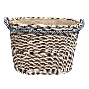 Large Oval Rope Handled Log Basket