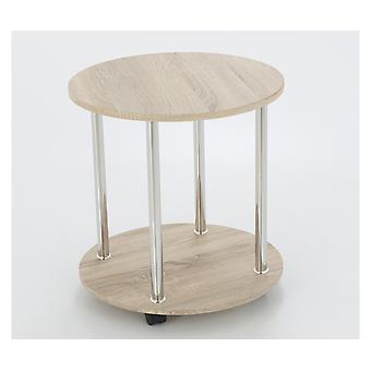 Efecto roble lado o lámpara de mesa con ruedas