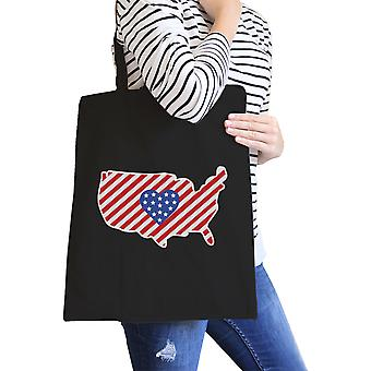 USA Map American Flag Canvas Eco Bag America Heart Design Tote Bag