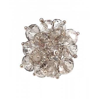W.A.T Hand Made Soft Grey Crystal Bead Cluster Ring