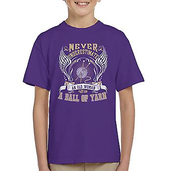 Never Underestimate Knitting Kid's T-Shirt