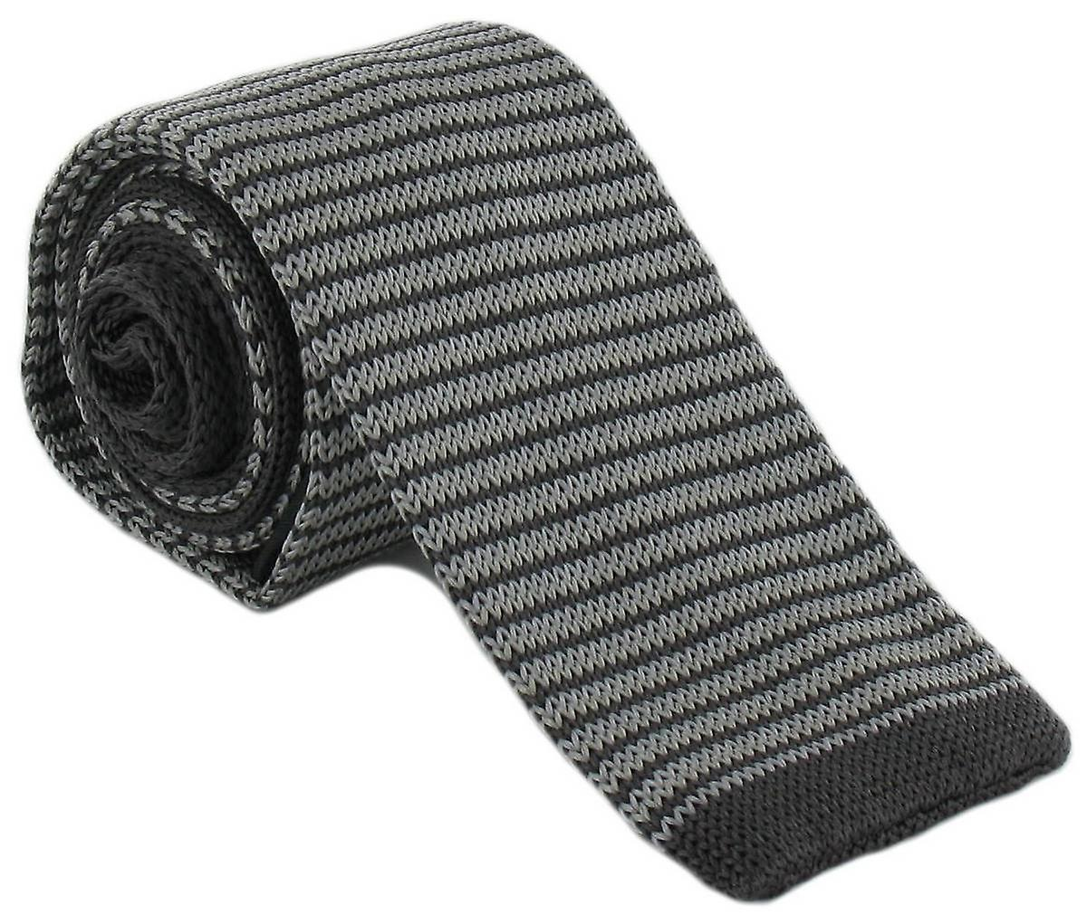 Michelsons of London Silk Knitted Thin Stripe Skinny Tie - Grey