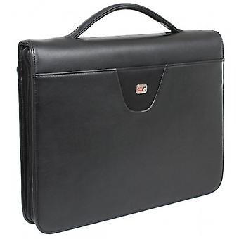 Gino Ferrari Senator A4 Zip Folio with Handle - Black