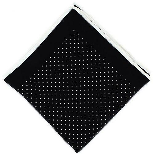 Michelsons of London Pin Dot with Border Silk Handkerchief  - Black/White