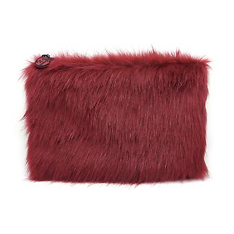 W7 Maroon Fluffy/Furry Large Cosmetic Toiletry Make Up Bag