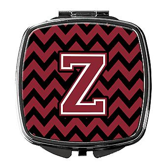 Letter Z Chevron Garnet and Black  Compact Mirror