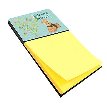 Welcome Friends Airedale Terrier Sticky Note Holder