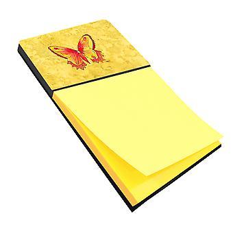 Butterfly on gele Refiillable notitie houder of Postit Opmerking Dispenser