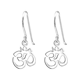 Om Symbol - 925 Sterling Silver Plain Earrings