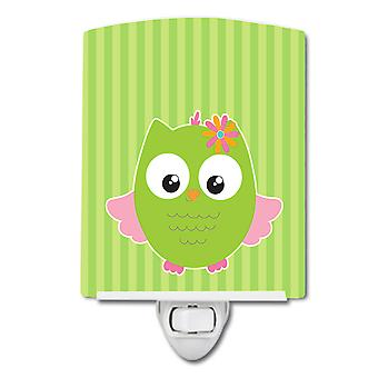 Carolines Treasures  BB9117CNL Owl and Green Stripes Ceramic Night Light