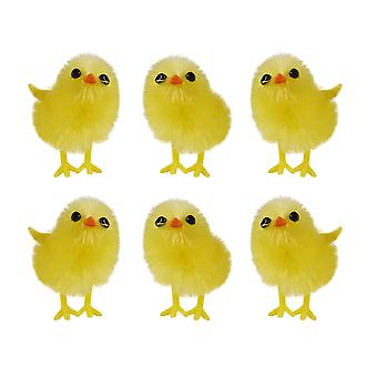 Pack of 6 Little Fluffy Yellow Easter Chicks Easter Bonnet Decoration