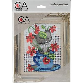 Collection D'Art Stamped Needlepoint Kit 20X25cm-Mouse In Cup CD3331K